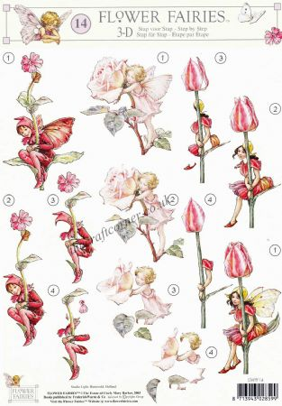 Flower Fairy 14 Tulip, Rose & Red Campion Flower Fairies by Cicely Mary Barker 3d Decoupage Sheet